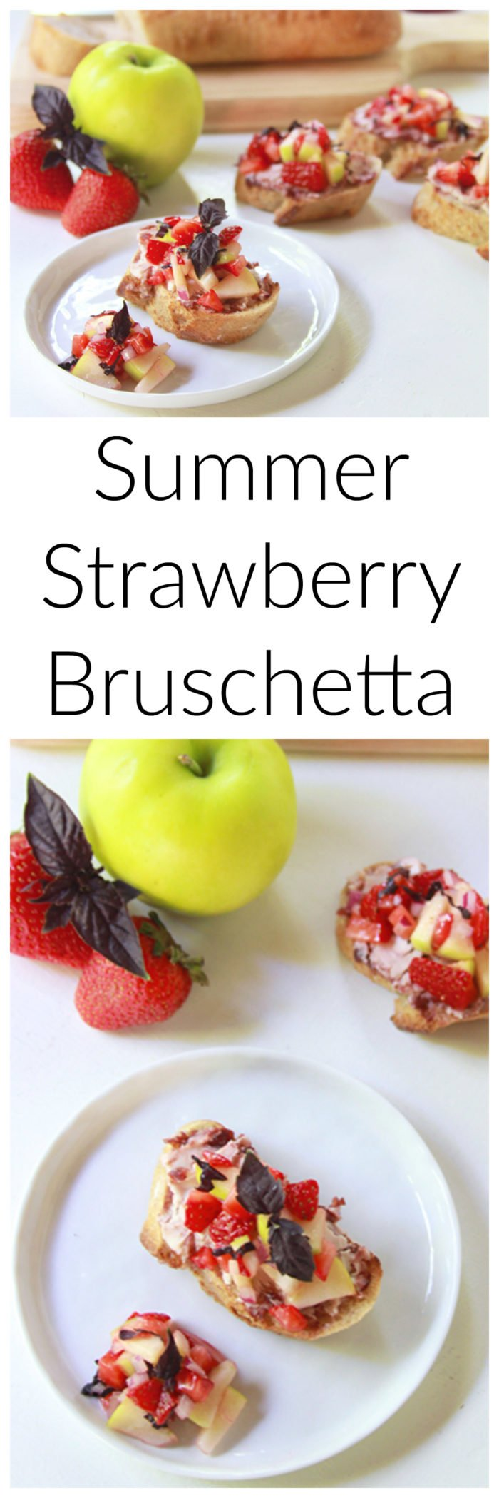 Summer Strawberry Bruschetta on www.cookingwithruthie.com is ever so lovely with the purple basil and tastes amazing!