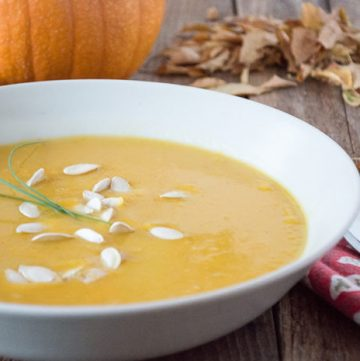 Harvest Pumpkin Soup by www.whiskandmuddler.com on www.cookingwithruthie.com is a delicious autumn recipe!