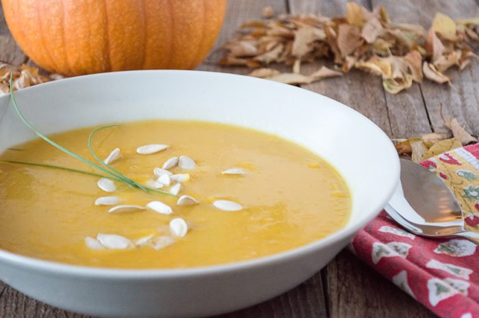 Our Harvest Pumpkin Soup Recipe is a flavorful pumpkin that's simple to make too! by www.cookingwithruthie.com