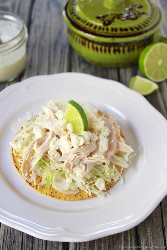 Chicken Tostadas with Chili Crema on www.cookingwithruthie.com are simple to make with a that south of the boarder flavor!