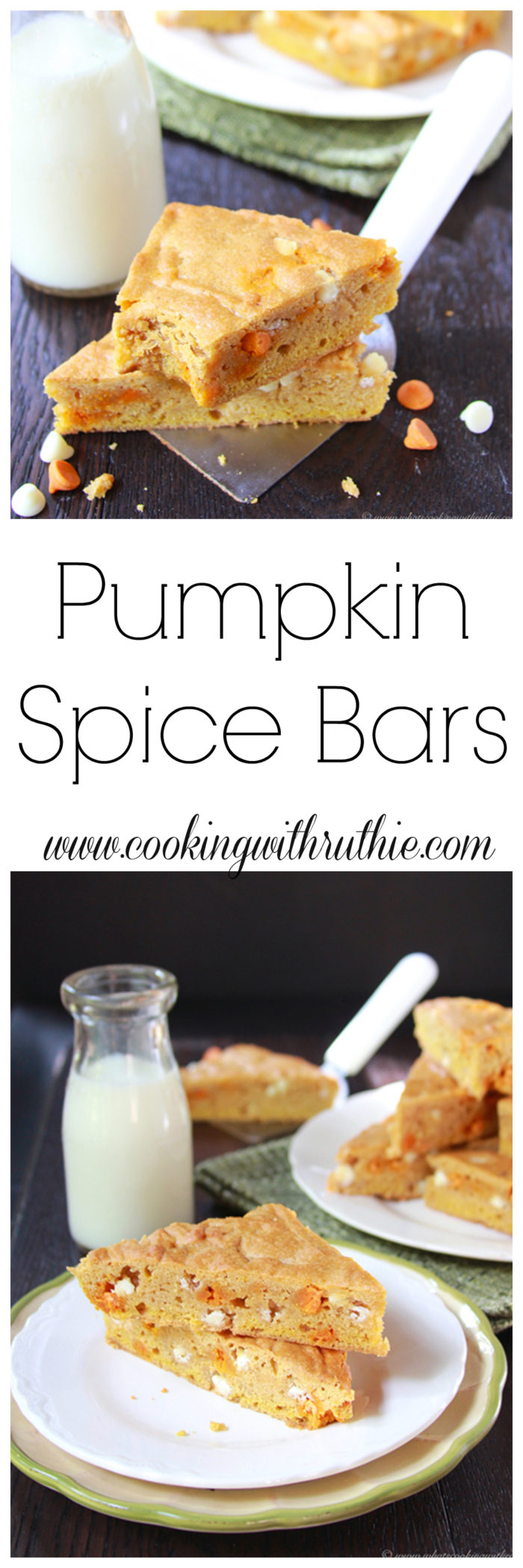 Pumpkin Spice Bars on www.cookingwithruthie.com will rock your world in every way!! YUM. If you're like me and wait for the autumn months just to enjoy amazing pumpkin-inspired recipes, then you'll be in heaven with this bar!