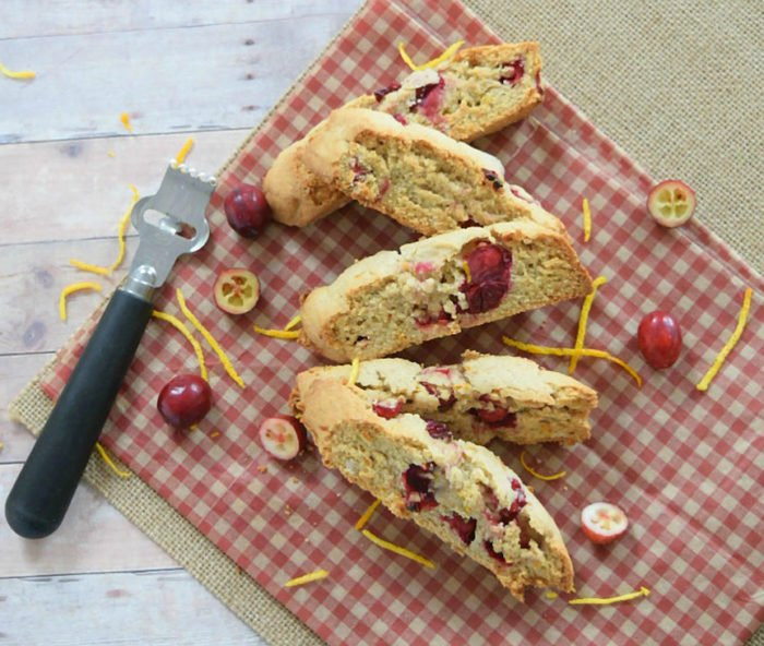 Cranberry Orange Biscotti by www.threekidsandafish.com on www.cookingwithruthie.com is going to be your favorite cookie this winter!