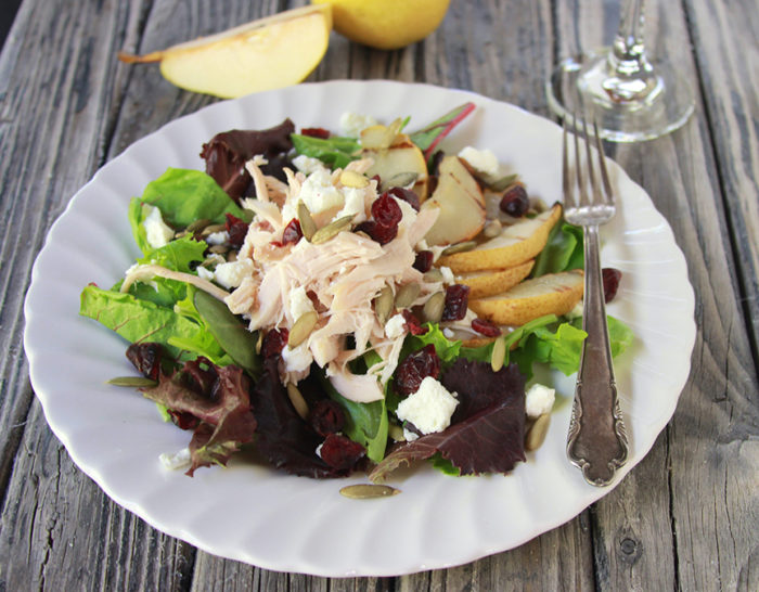 Grilled Pear, Cranberry, Chicken Salad and Fit Friday on www.cookingwithruthie.com a healthy recipe+fitness tips!