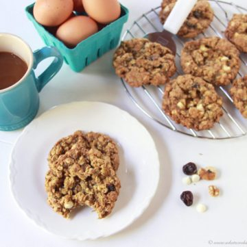 Gluten Free Cherry White Chocolate Chia Cookies on www.cookingwithruthie.com are a healthier but oh so delightful little cookie!