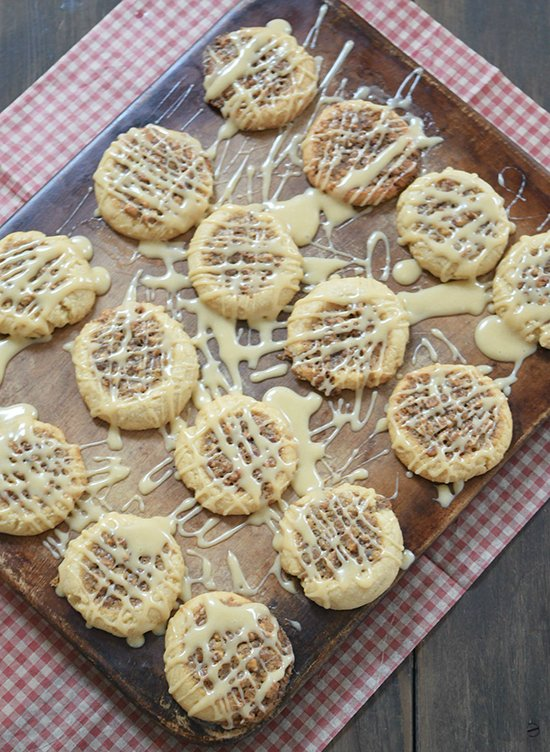 Pecan Pie Cookies by www.threekidsandafish.com on www.cookingwithruthie.com will be your favorite cookie this winter!