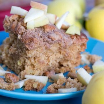 Apple Crumb Coffee Cake by www.nodietsallowed.com on www.cookingwithruthie.com is a healthy and delicious winter brunch!