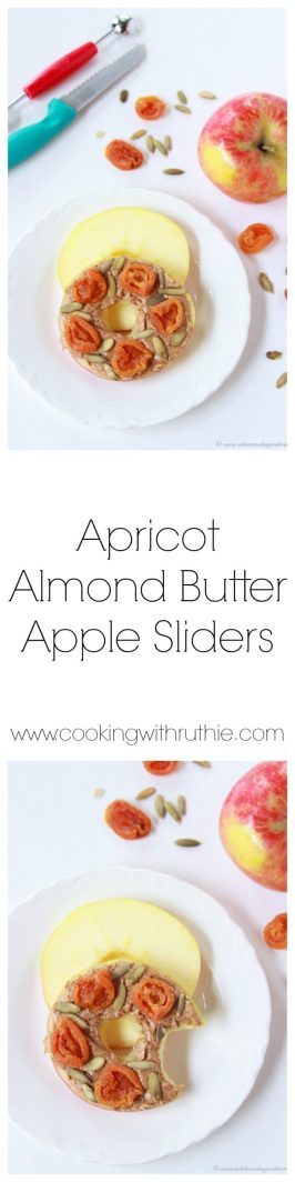 Apricot Almond Butter Apple Sliders on www.cookingwithruthie.com are the perfect snack!