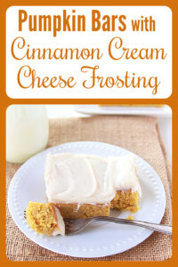 Today's Pumpkin Bars with Cinnamon Cream Cheese Frosting Recipe is the very best of autumn baked into a dessert bar! Our cinnamon cream cheese bars are lovely to enjoy with a steamy cup of coffee. You will love the taste of the pumpkin, cinnamon, vanilla, and delicious cream cheese all at the same time. #pumpkinbars #pumpkinrecipe #fallrecipe #creamcheesefrosting #pumpkin