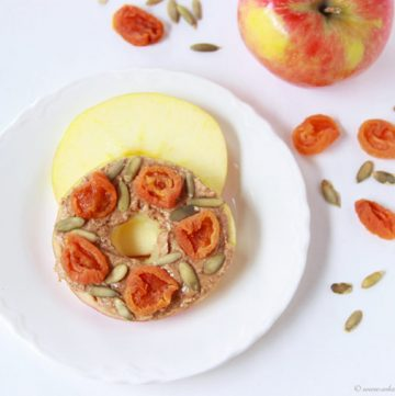 Apricot Almond Butter Apple Sliders on www.cookingwithruthie.com are the perfect snack! @walmart #spon