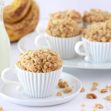 Banana Nut Strudel Muffins on www.cookingwithruthie.com is a delicious way to use your overripe bananas!