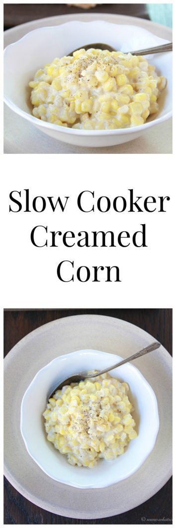 Slow Cooker Creamed Corn on www.cookingwithruthie.com is very simple to make plus it's comfort food like you've never tasted!