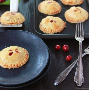 Cranberry Apple Hand Pies on www.cookingwithruthie.com- cranberries, apples, nutmeg, and cinnamon they'll be the sparkle in your holidays! #truvia #spon