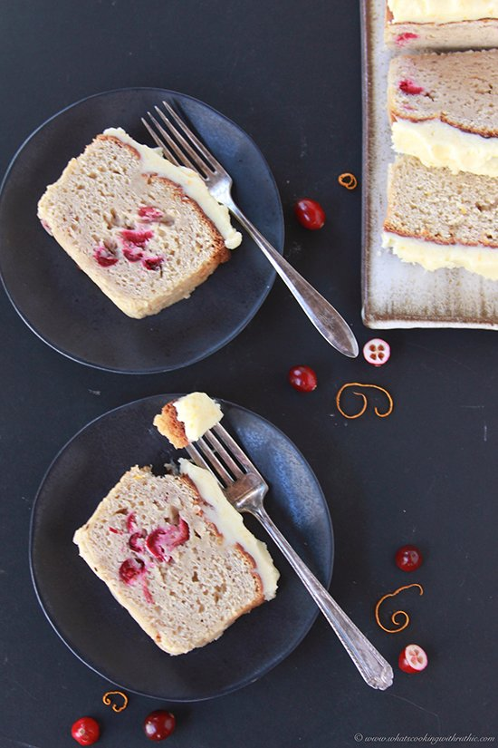 Cranberry Orange Loaf with Orange Zest Frosting on www.cookingwithruthie.com is delicious and beautiful!