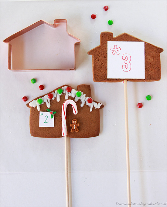 Gingerbread Cookie Table Markers on www.cookingwithruthie.com is a festive addition to your holiday parties!