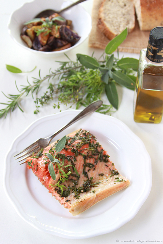 Herbed Salmon Fillet and Fit Friday on www.cookingwithruthie.com is delicious and healthy!