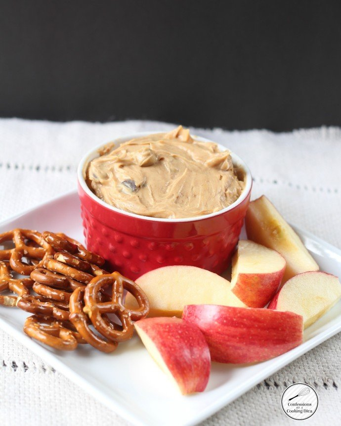 Peanut Butter Chocolate Chip Dip by www.confessionsofacookingdiva.com on www.cookingwithruthie.com
