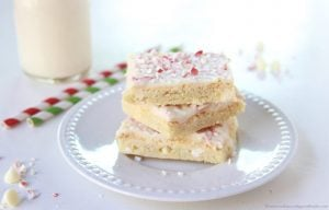 Peppermint White Chocolate Sugar Cookie Bars on www.cookingwithruthie.com are a dessert dream come true!