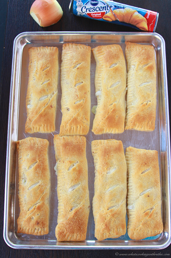 Philly Cheese Steak Pockets on www.cookingwithruthie.com are quick and easy for dinner with Pillsbury Crescents®! #spon