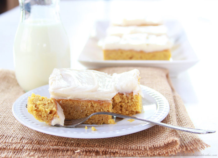 Today's Pumpkin Bars with Cinnamon Frosting Recipe are the very best of autumn baked into a dessert bar! by cookingwithruthie.com