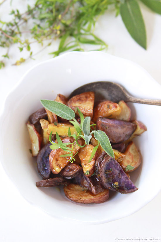 Roasted Herbed Tri-Colored Potatoes on www.cookingwithruthie.com is so easy to make to go with dinner tonight!