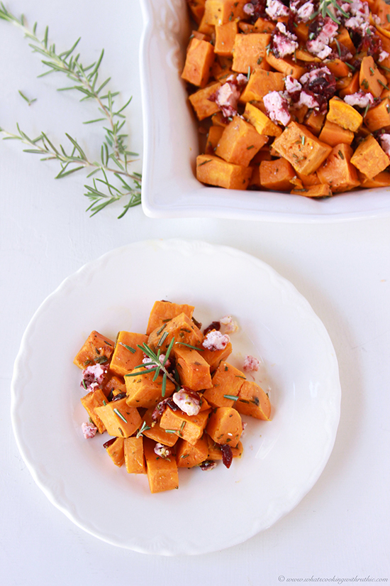 Today's Roasted Rosemary Sweet Potato with Cranberry Chevre Recipe is a simple side dish that beautifully adds to your winter dinner table. by cookingwithruthie.com