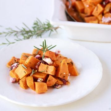 Roasted Rosemary Sweet Potato with Cranberry Chevre on www.cookingwithruthie.com is a simple side dish to any meal!