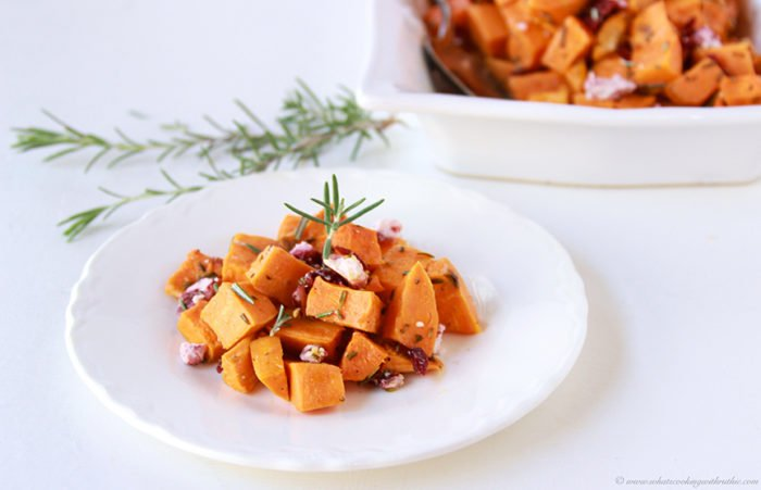Roasted Rosemary Sweet Potato with Cranberry Chevre Recipe is a simple side dish that beautifully adds to your winter dinner table. by cookingwithruthie.com