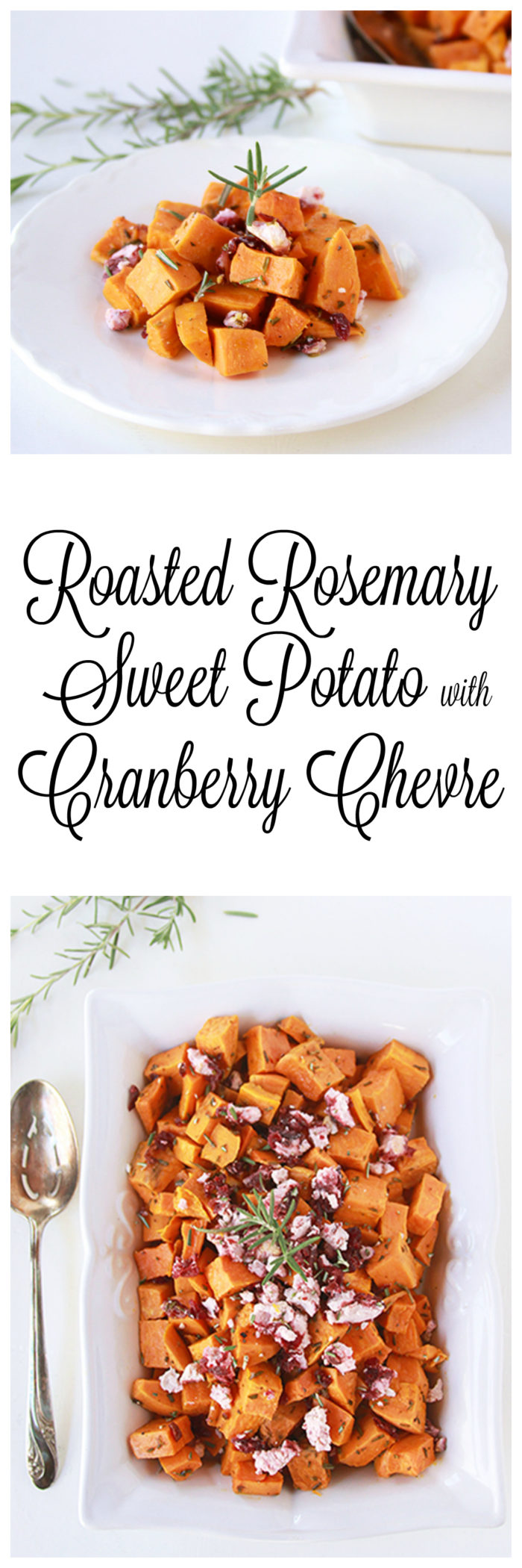 Roasted Rosemary Sweet Potato with Cranberry Chevre on www.cookingwithruthie.com if you love sweet potatoes, rosemary, and chevre goat cheese!