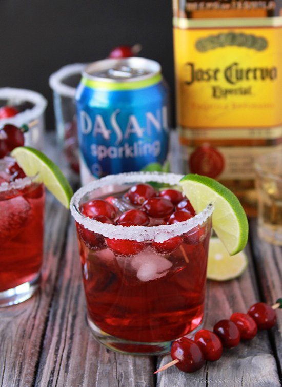 Cranberry Lime Margaritas on www.cookingwithruthie.com is a beautiful addition to your holiday parties! #SparklingHolidays