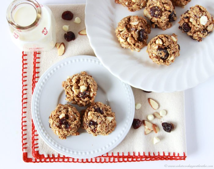 Healthy Cherry White Chocolate Almond Cookies and Fit Friday on www.cookingwithruthie.com will make your sweet tooth happy in a healthier way!