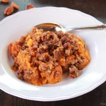 Maple Pecan Sweet Potato Casserole on www.cookingwithruthie.com is a delightful side dish for your winter meals!