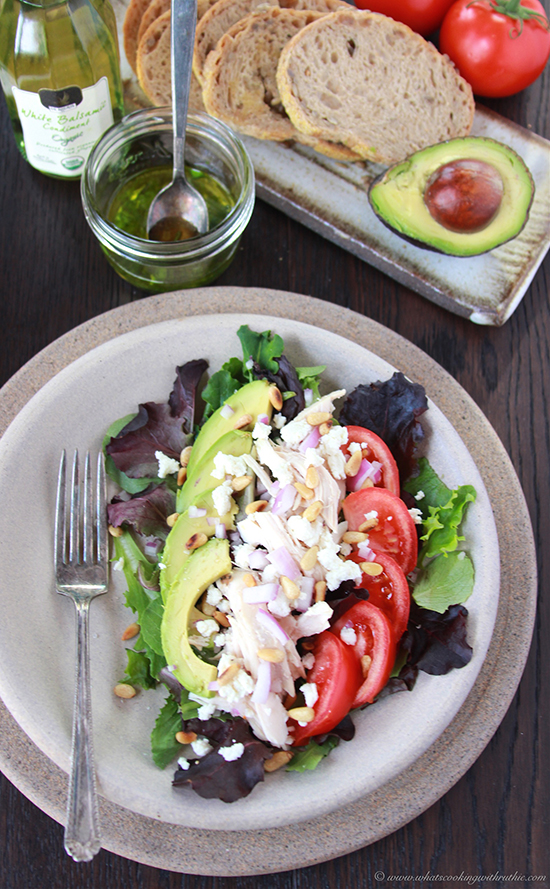 Avocado, Tomato, Chicken Salad with Basil Vinaigrette on www.cookingwithruthie.com has amazing flavor and good for you too!