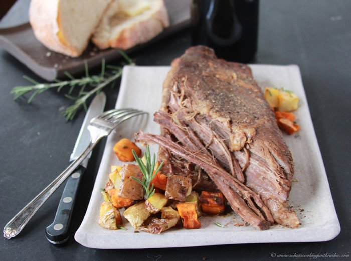 Brisket with Root Vegetable Hash on www.cookingwithruthie.com is a savory masterpiece!