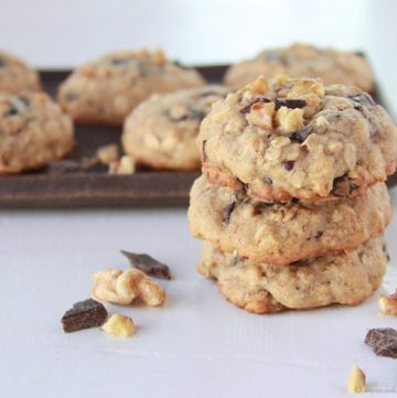 Chocolate Chunk Banana Nut Cookies on www.cookingwithruthie.com are they perfect way to use up those overripe bananas! YUMMY.