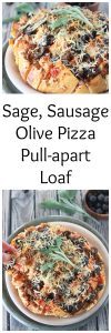 Sage, Sausage, Olive Pizza Pull-Apart Loaf on www.cookingwithruthie.com is a quick, easy, and cheesy-delicious appetizer