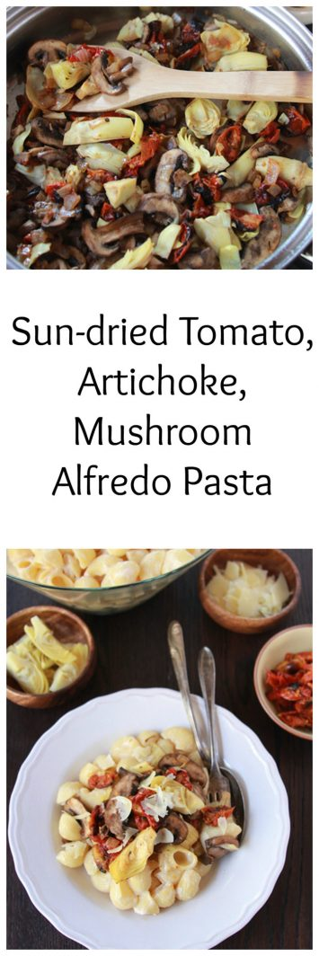 Sun-dried Tomato, Artichoke, Mushroom Alfredo Pasta is a simple, savory supper the whole family will love! www.cookingwithruthie.com