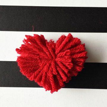 Heart Pom Pom by www.polkadotpoplars.com on www.cookingwithruthie.com to make Valentines Day festive!
