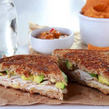 Turkey, Avocado, Havarti Grilled Cheese on www.cookingwithruthie.com is a cheesy, delicious sandwich!
