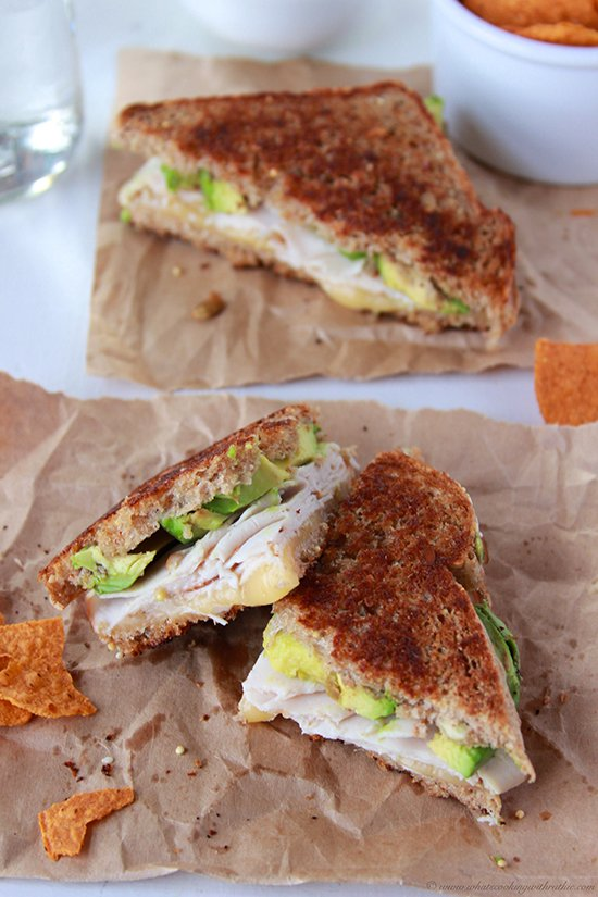 Turkey, Avocado, Havarti Grilled Cheese on www.cookingwithruthie.com is a cheesy, delicious sandwich