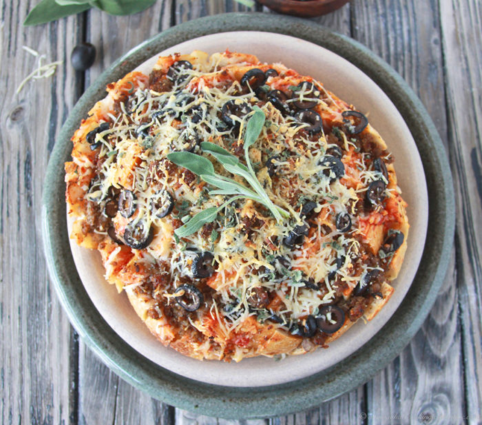 Sage, Sausage, Olive Pizza Loaf on www.cookingwithruthie.com is #deliciousgametime appetizer that's quick and easy! @walmart #ad