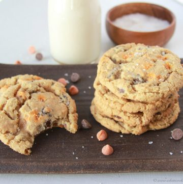 Salted Caramel Chocolate Chip Cookies on www.cookingwithruthie.com will rock your world!