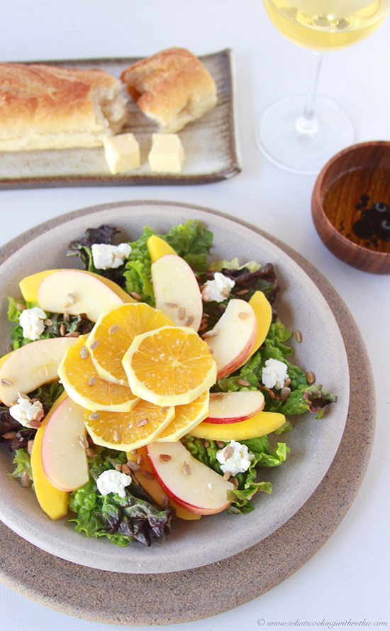 Today's Winter Fruit and Greens Salad Recipe is an enjoyable combination of fruits and vegetables to keep you healthy and happy this winter!by cookingwithruthie.com