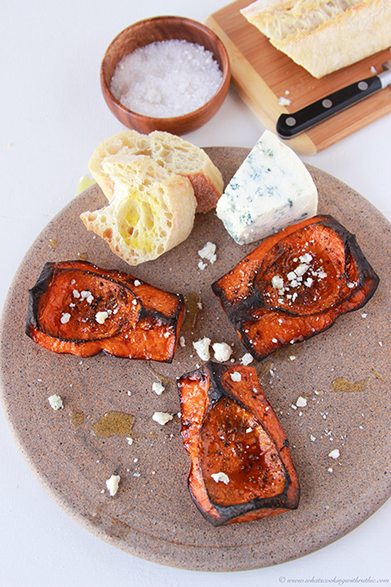 Toasted Butternut Squash with Gorgonzola on www.cookingwithruthie.com is an adventure for your tastebuds!