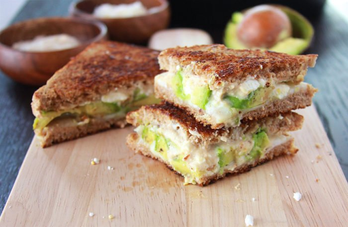 Avocado, Hummus, and Feta Grilled Cheese on www.cookingwithruthie.com will be your new favorite grilled cheese sandwich!