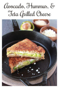 Avocado, Hummus, & Feta Grilled Cheese Recipe is a Mediterranean savory adventure. Your tastebuds will be in heaven with every crunchy bite! All you need is whole wheat bread, avocado, hummus, and feta cheese and you're on your way to the best grilled cheese ever! || cookingwithruthie.com #grilledcheese #mediterranean #avocado #sandwichlove