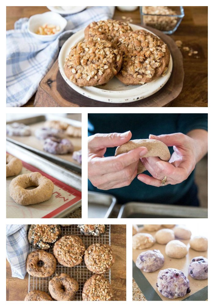 Apple Struesel Sprouted Whole Wheat Bagels on www.cookingwithruthie.com are so delicious and easy to make!