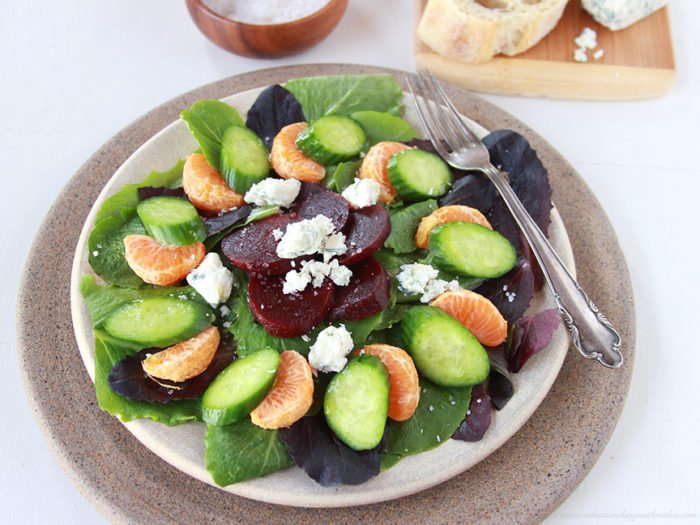 Beet, Orange, and Gorgonzola Salad on www.cookingwithruthie.com is a flavorful blend that will make your tastebuds sing!