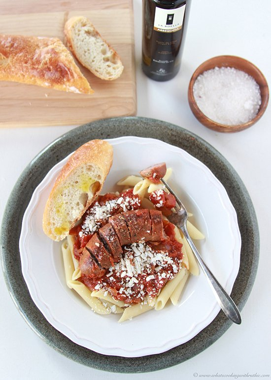 Chicken Sausage with Red Sauce and Penne Pasta on www.cookingwithruthie.com is healthy savory dish!