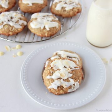 Coconut Banana Cookies with Coconut Glaze on www.cookingwithruthie.com will be your new favorite way to use overripe bananas!