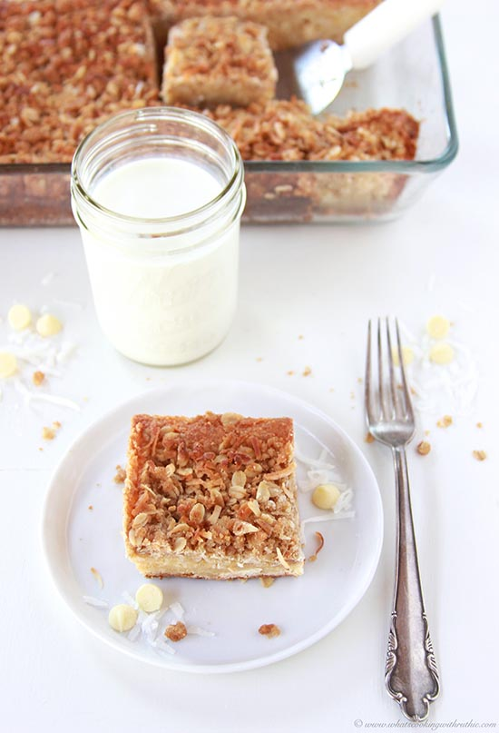 Coconut White Chocolate Streusel Bars on www.cookingwithruthie.com is the best dessert in the world!